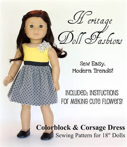 Girl doll clothes pattern colorblock dress pattern liberty jane doll