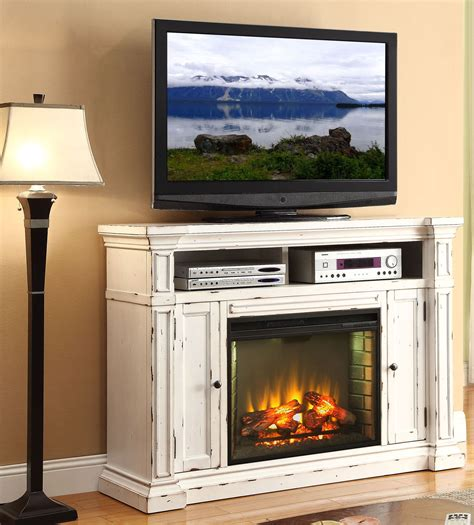 White Fireplace Media Center by New Castle Rustic White Fireplace Media Center From