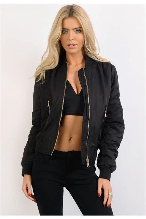 Jaket Bomber Crop Black black padded bomber jacket womens bomber jacket
