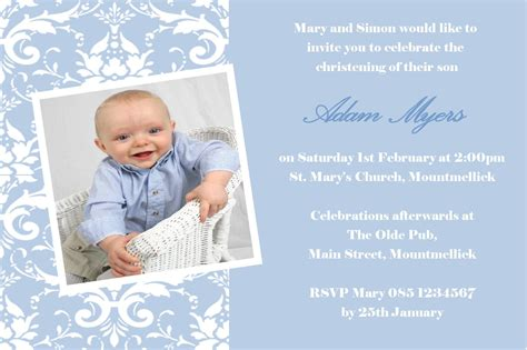 layout invitation for christening personalised boy photo christening invitations design 8