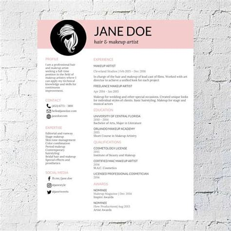 hair stylist makeup artist resume template