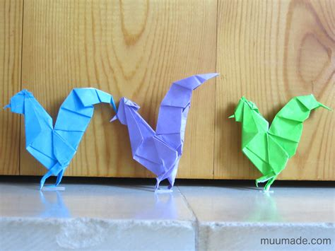 Origami Hen - origami roosters and chickens for the new year muumade