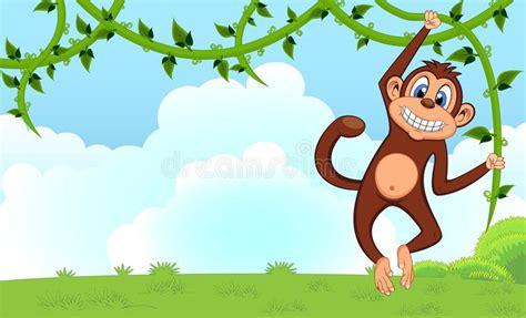 monkeys swinging on vines monkey swinging on vines cartoon in a garden for your