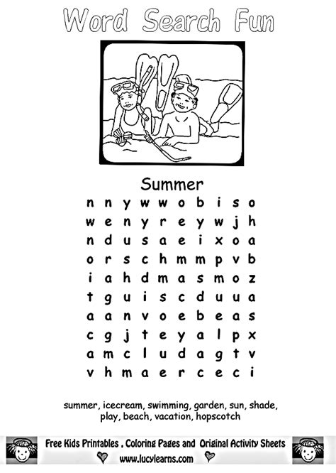 printable summer activity sheets free summer word search for kids
