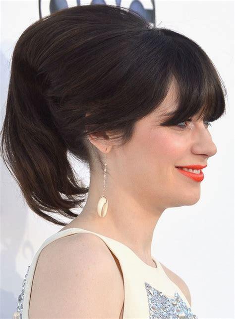 zooey deschanel updo hairstyles 27 zooey deschanel hairstyles pictures of zooey s