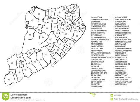 sections of staten island staten island neighborhood map stock image image 69753939