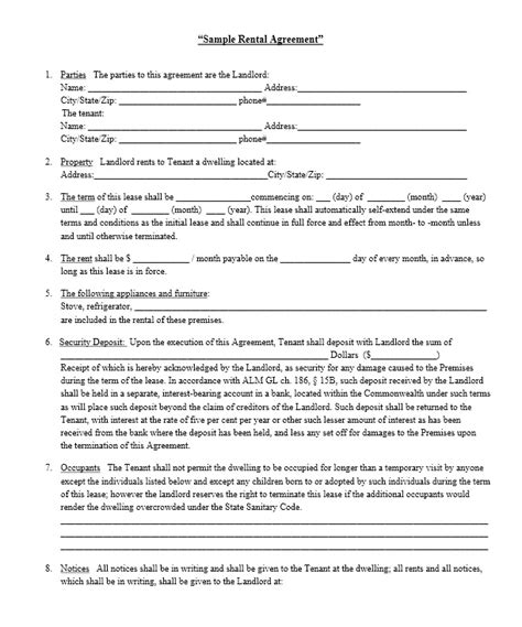 printable landlord lease agreement sle landlord lease agreement rental application
