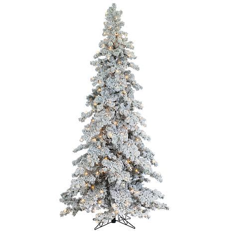 sterling nine foot flocked led trees sterling 9 heavy flocked layered spruce lighted tree 7937949 hsn