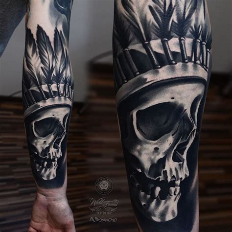 indian skull tattoos american skull by alex pancho with kwadron