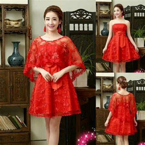 Set 2in1 Sabrina Batik baju mini dress brukat merah pendek unik murah cantik