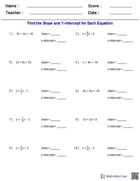 Finding Slope From Two Points Worksheet Answers by Finding Slope And Y Intercept From A Linear Equation