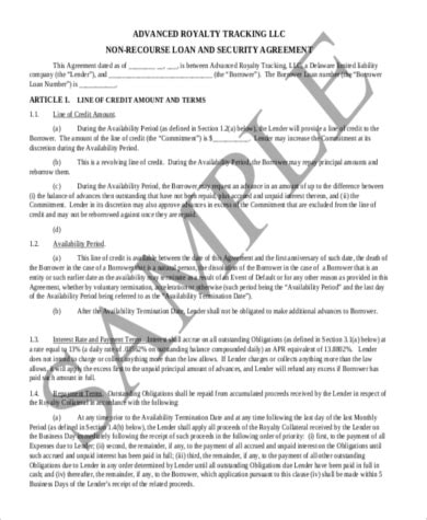 Sle Loan Agreement Form 8 Free Documents In Word Pdf Non Recourse Loan Template