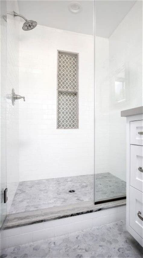 marble hex bathroom floors lead   glass shower