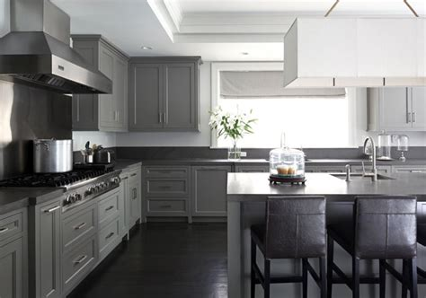 Grey Kitchen Cabinets With Black Countertops by Countertop Ideas For Gray Kitchen Cabinets