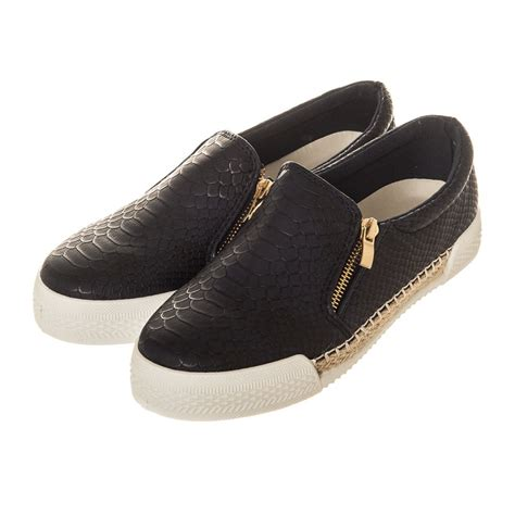 flat sole shoes flat rubber sole slip on skater shoe with side zip trim