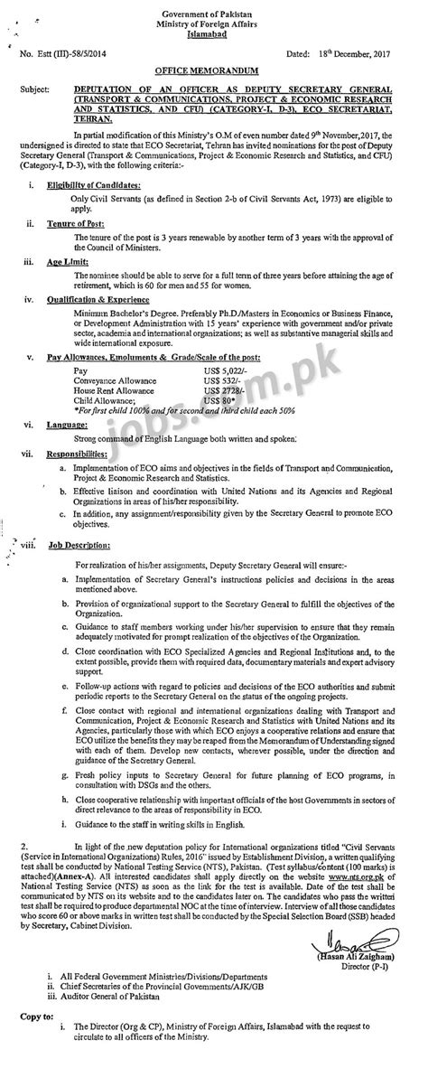 Mofa Jobs 2018 by Ministry Of Foreign Affairs Pakistan Jobs 2018 For Deputy