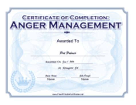 anger management certificate template certificates of completion free printable certificates