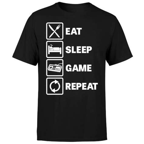 T Shirt Eat Sleep Repeat eat sleep repeat t shirt black pop in a box uk
