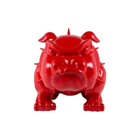 life size bulldog statue  red devil dog ornament