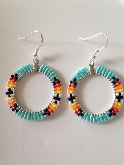 beadwork earrings beaded hoop earrings turquoise by