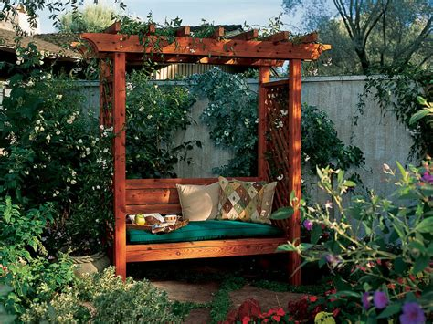 Backyard Trellis by How To Build A Garden Arbor Bench Sunset