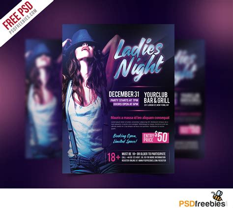 template flyer disco ladies night flyer free psd template psdfreebies com