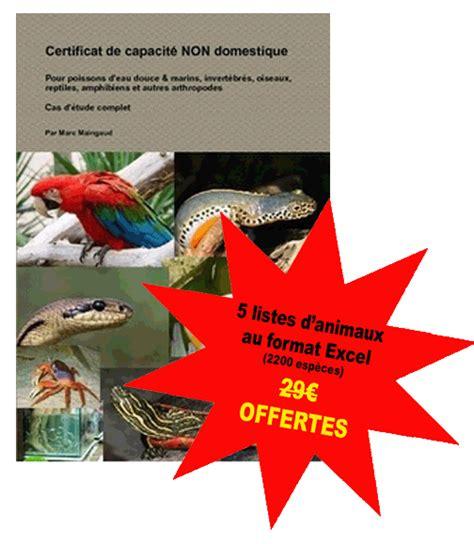 147099769x certificat de capacite non domestique livre certificat capacit 233 animaux non domestiques
