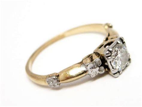 Art Deco Diamond Platinum 14K Gold Engagement Ring : St
