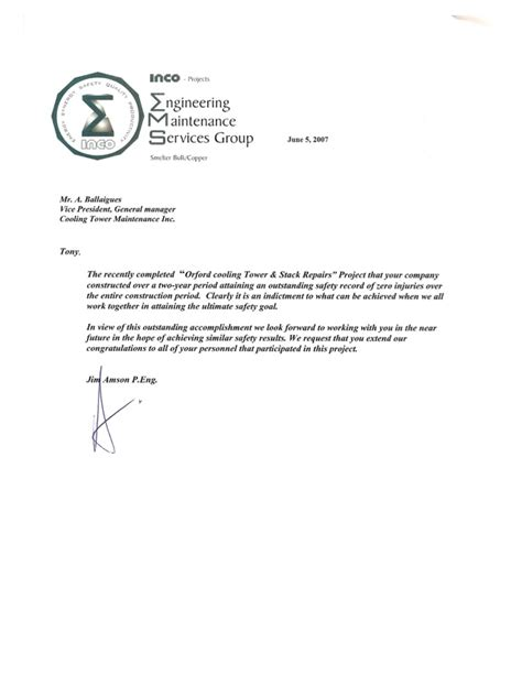 recommendation letter for maintenance worker cover