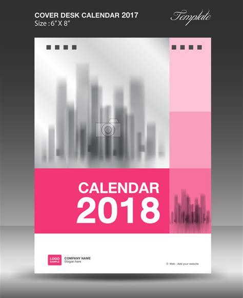 Calendar Cover Pink Vertical Desk Calendar 2018 Cover Template Vector