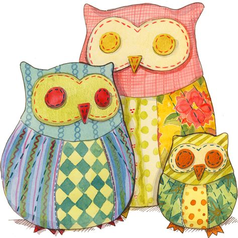 Patchwork Owls - patchwork owl pattern for sewing owl stuffies in 3 sizes