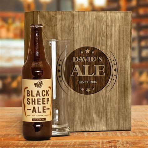 engraved wooden box and ale gift set buy from prezzybox com