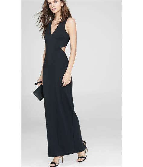 Express Black Rayon Dress express black v neck cut out sleeveless maxi dress in black lyst
