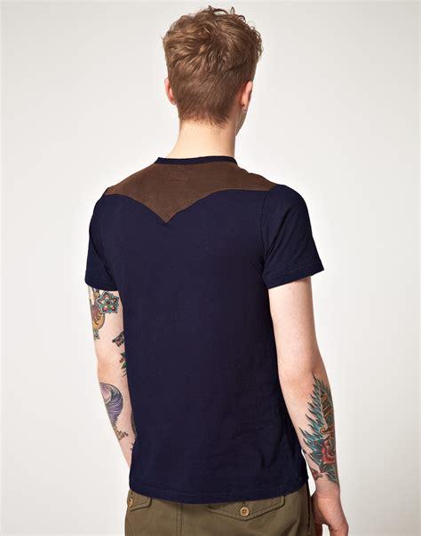 Mens Shirt Izzue lyst izzue izzue shoulder patch crew neck tshirt in blue