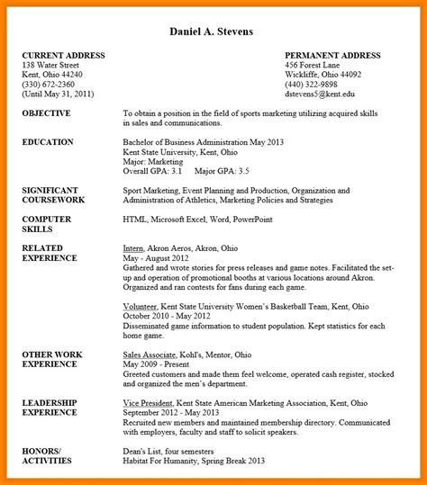 resume cv exles sle resume undergraduate best resume collection
