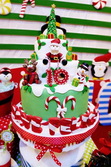 christmas themed birthday cake merry christmas and happy