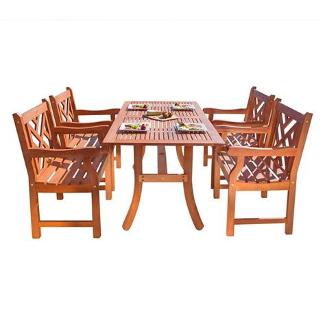 Atlantic 5 Piece Wood Patio Dining Set V187set2 Wooden Patio Dining Sets