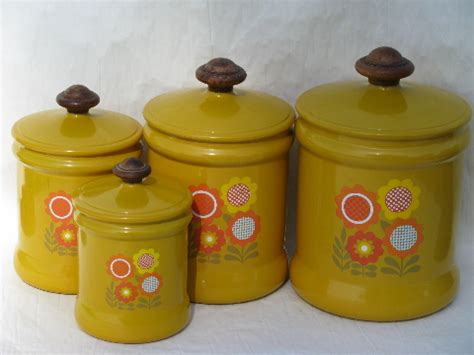 retro canisters kitchen 2018 70 s vintage metal kitchen canisters retro flower power daisies