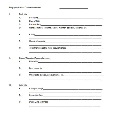 biography report template biography outline template 10 free sle exle