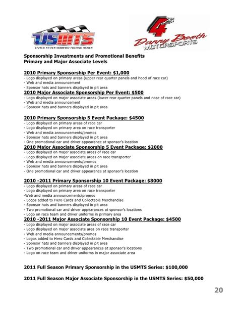 motorsports sponsorship template danny booth motorsports marketing presentation 2010 2011