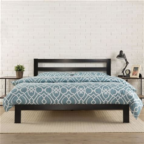 king size heavy duty metal platform bed frame with headboard and wood slats fastfurnishings