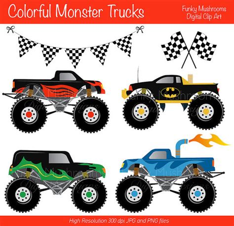 printable monster jam birthday cards digital clipart colorful monster trucks for scrapbooking