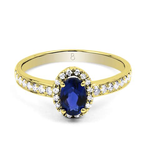 18ct yellow gold blue sapphire engagement ring
