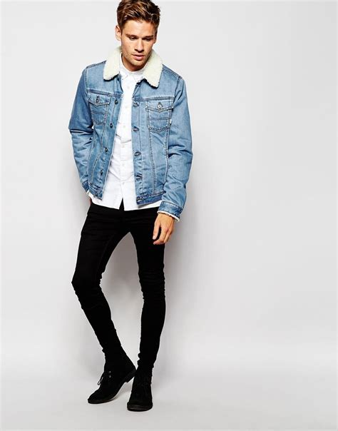 light wash denim jacket with fur collar denim jacket with borg collar in blue wash mens