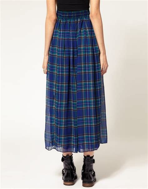 american apparel plaid layer maxi skirt in blue lyst