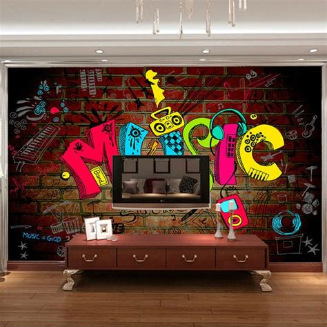graffiti bedroom accessories music graffiti photo wallpaper 3d wallpaper bedroom kid
