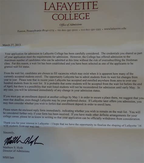 My College Acceptance Letter Called Me File Lafayette College Admissions Department Waitlist Letter Jpg Wikimedia Commons