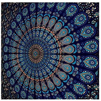amazon com blue tapestry wall hanging mandala tapestries