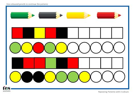 repeating patterns with 2 colours 4 worksheet activities repeating patterns with 3 colours 4 worksheet activities