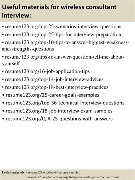 Wireless Consultant by Top 8 Wireless Consultant Resume Sles